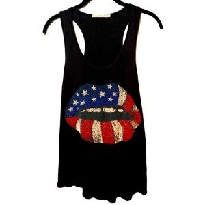 Rolla Coster American Flag Studded Lips Tank Top